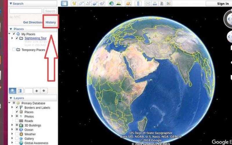 الصورة: الوصول إلى سجل البحث في Google Earth Pro
