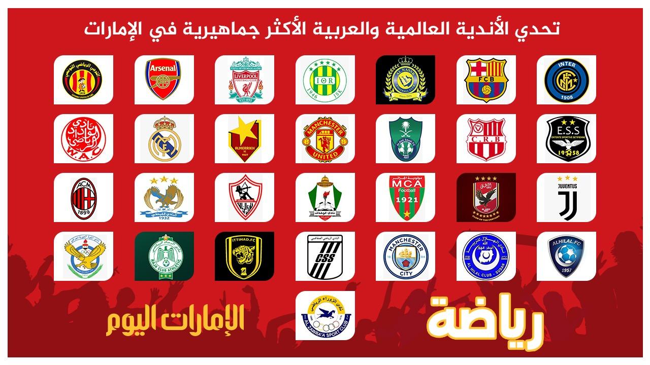 الأندية العالمية والعربية المشاركة في التصويت