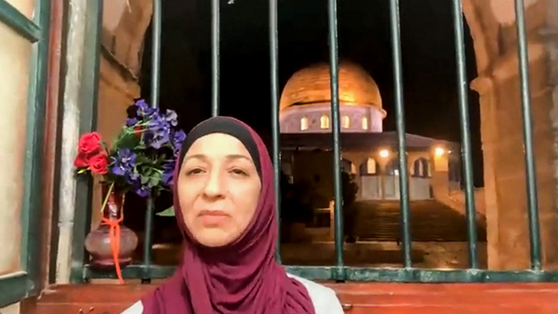 منزل مريم أبونجمة يطلّ مباشرة على قبة الصخرة.  الإمارات اليوم