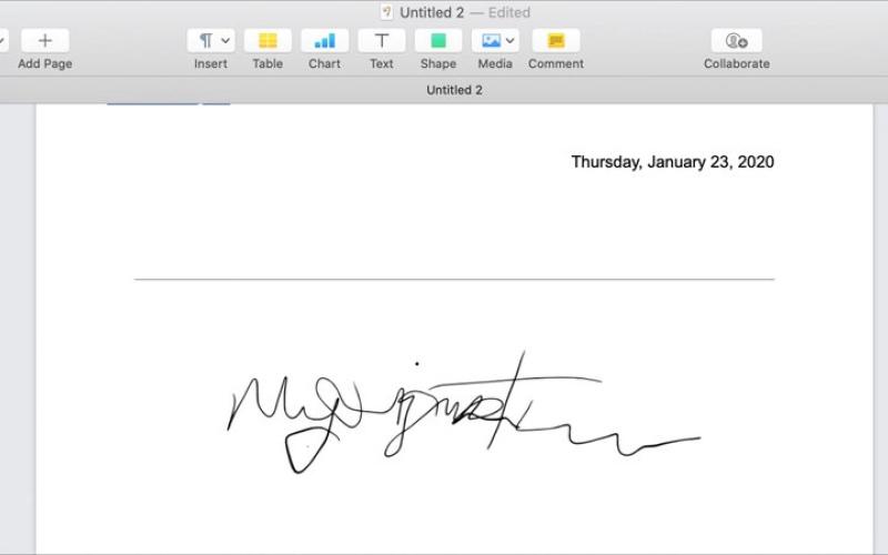 الصورة: التوقيع الرقمي على مستندات PAGES في «ماك»
