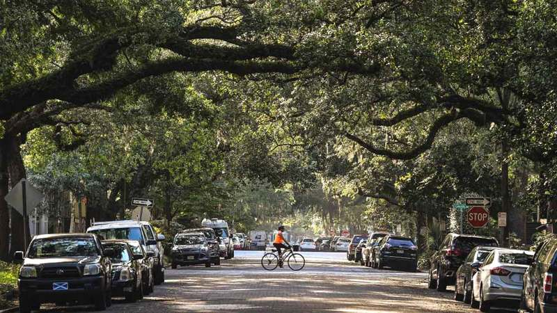 الزوار عادوا إلى شوارع سافانا المشجرة. أ.ف.ب