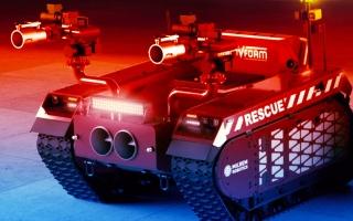 """الصورة: بالفيديو.. """"روبوت"""" يطلق 20 ألف لتر رغوة بالدقيقة لإطفاء الحرائق المستعصية"""