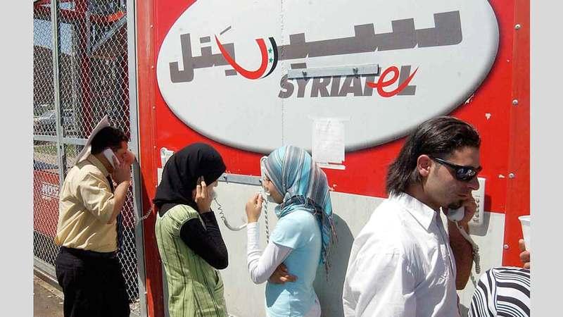 النظام السوري يحاول السيطرة على شركة «سيرياتل» للاتصالات التي يملكها مخلوف. أرشيفية