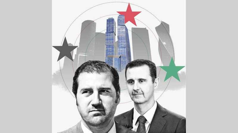 الأسد «إلى اليمين» ومخلوف.. حان وقت الحساب.   الصورة عن «فايننشيال تايمز»