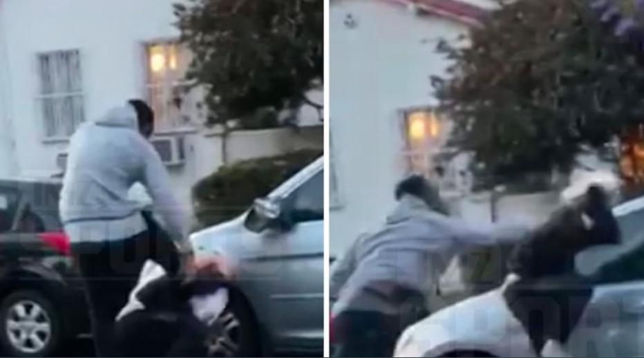 خلال قيام سميث بضرب المعتدي على سيارته.