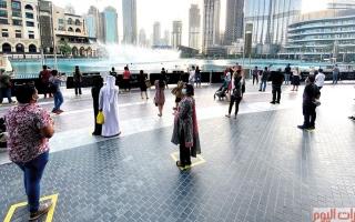 الصورة: زوّار دبي حول نافورتها الراقصة مجدداً