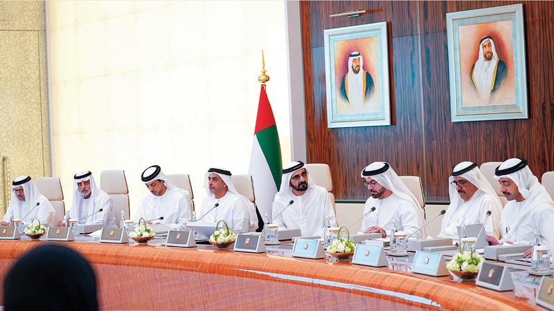 محمد بن راشد خلال ترؤسه جلسة سابقة لمجلس الوزراء. أرشيفية