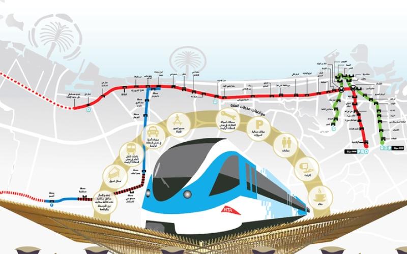 الصورة: غرافيك.. 80 مليون ساعة عمل أنجزت مسار مترو دبي 2020
