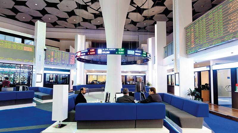 سوق دبي المالي أغلق عند مستوى 2086 نقطة بتداولات قيمتها 157 مليون درهم. تصوير: باتريك كاستيلو