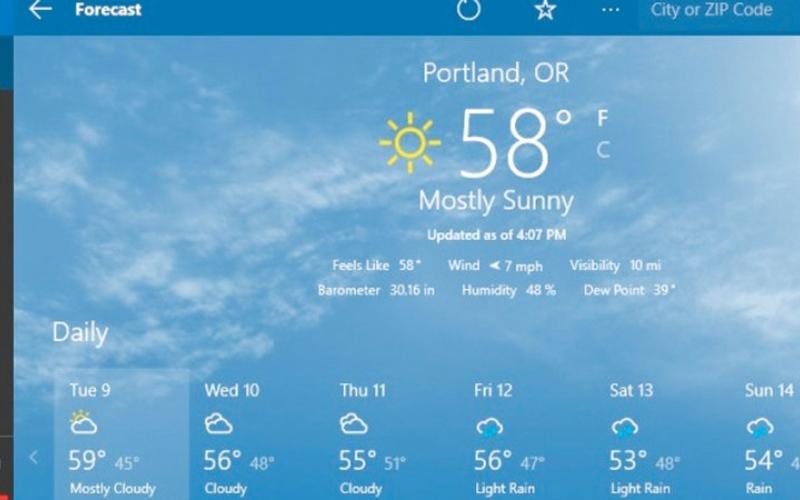 الصورة: تغيير مكان الإقامة في تطبيق الطقس بنظام «ويندوز 10»