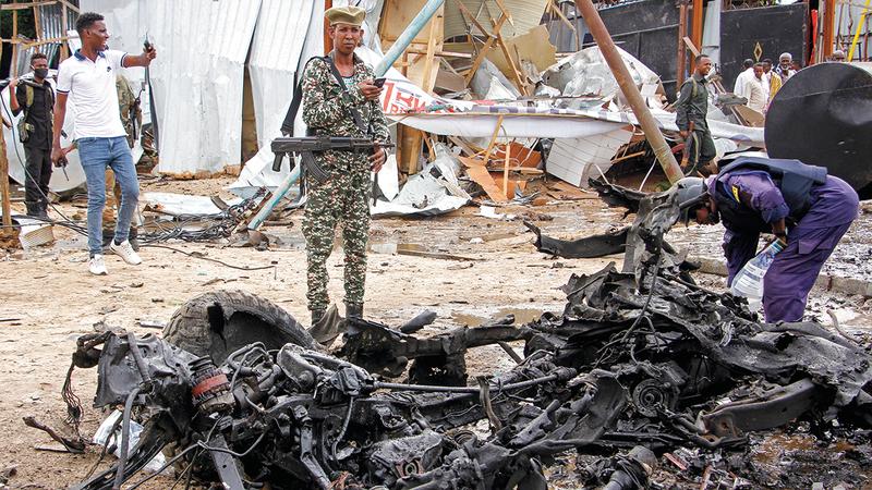 آثار أحد التفجيرات السابقة في الصومال. أرشيفية