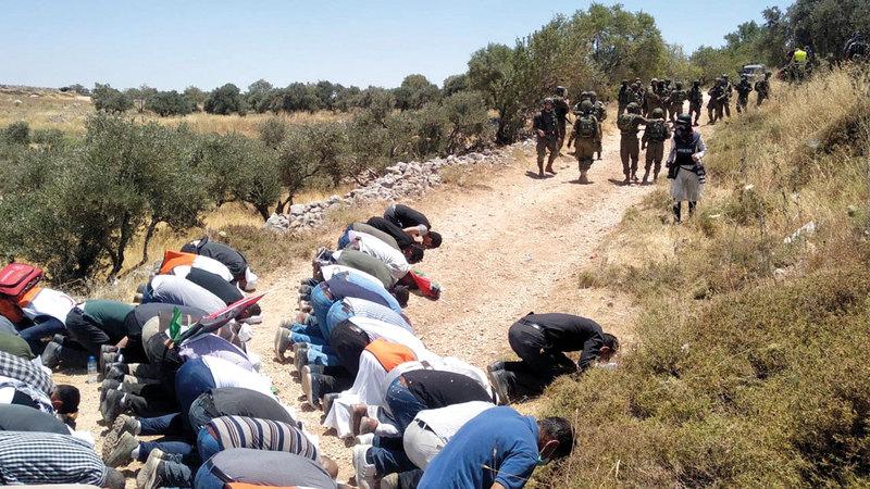 الفلسطينيون احتشدوا لحماية الأرض واسترجاعها.   الإمارات اليوم