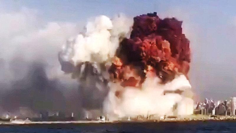 صورة تظهر لحظة الانفجار.  إي.بي.ايه