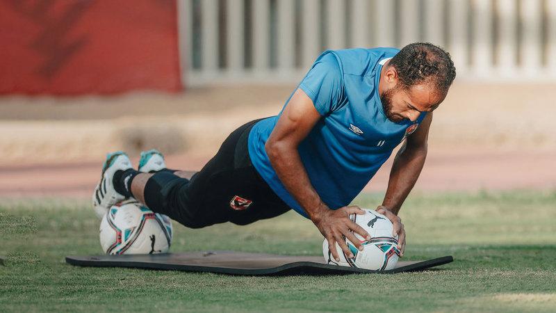 لاعب الأهلي وليد سليمان خلال التدريبات الأخيرة. من المصدر