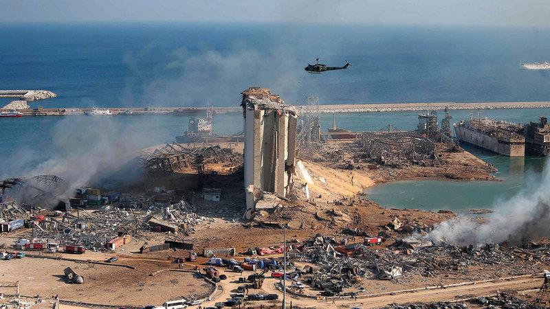 آثار الدمار في مرفأ بيروت.  أ.ف.ب