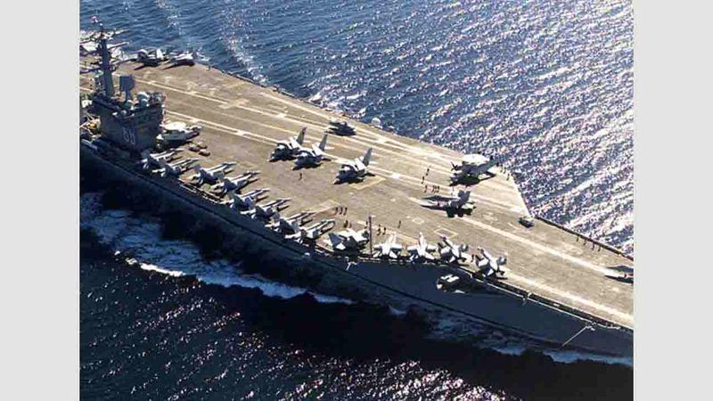 المتحدث باسم الأسطول السابع الأميركي قال إن «وجود الحاملتين ليس رداً على أي أحداث سياسية أو عالمية».ارشيفية