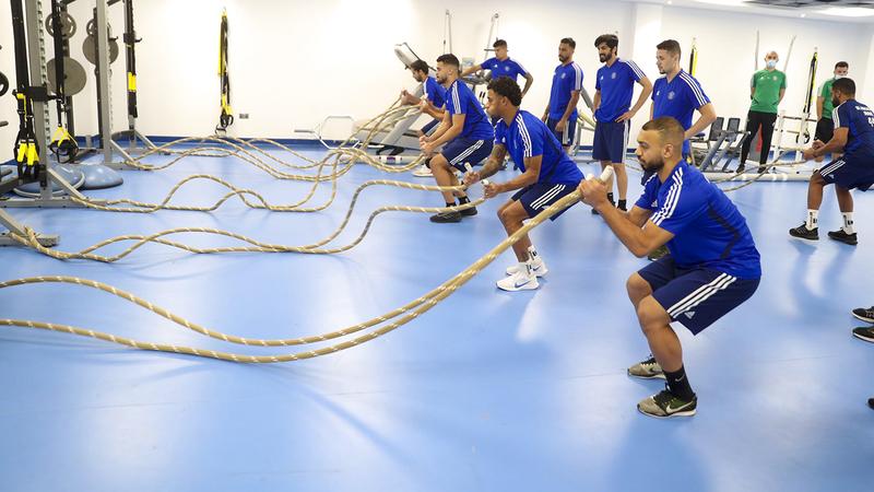 جانب من التدريبات البدنية الأخيرة للاعبي النصر. من المصدر