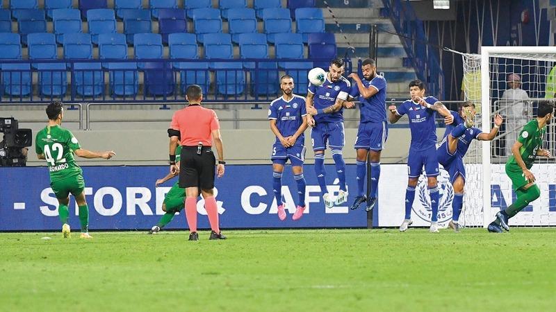 النصر يأمل في الصعود إلى منصّة تتويج دوري الخليج العربي في الموسم الجديد.  تصوير: أسامة أبوغانم