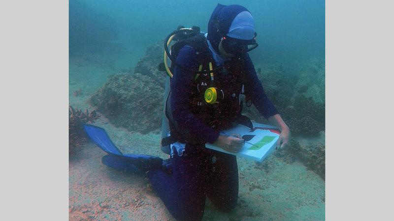 ميسون آل صالح: شاركتُ بعمل لرسم شعار يوم المرأة الإماراتية خلال الغوص تحت الماء.   من المصدر