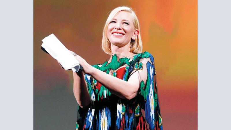 كيت بلانشيت خلال الإعلان عن الفائزين بالجوائز. رويترز