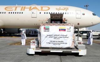 الصورة: الإمارات ترسل طـائرة مساعدات طبية خامسة إلى كولومبيا