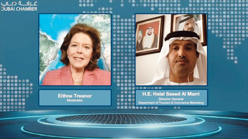 المري خلال أولى سلاسل اللقاءات الافتراضية التي نظمتها «غرفة دبي».  من المصدر