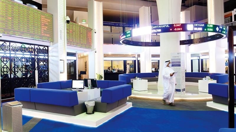 المؤشر العام لسوق دبي المالي أغلق عند 2214 نقطة بنمو نسبته 0.07%. ■ تصوير: باتريك كاستيلو