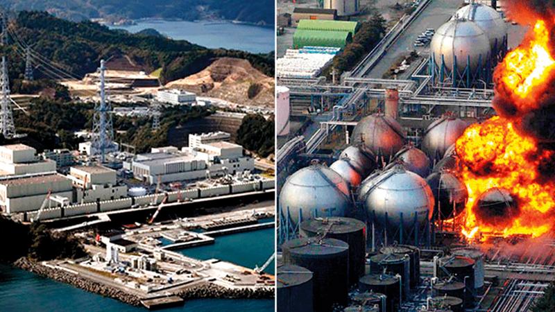 النار التهمت المفاعل عندما وقع الزلزال (يمين).. والمفاعل بعد إعادة بنائه (يسار). أرشيفية