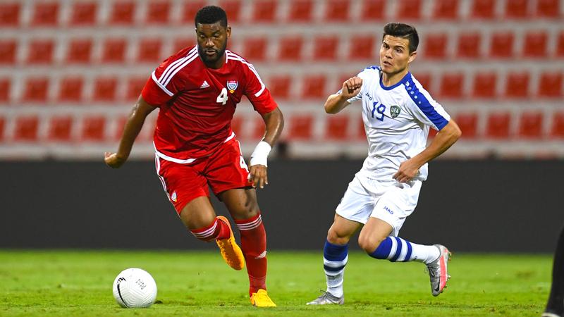 فارس جمعة خلال مباراة المنتخب وأوزبكستان.  من المصدر