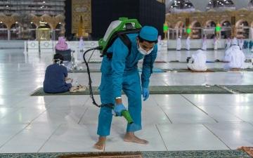 الصورة: تكثيف عمليات التعقيم داخل المسجد الحرام ومرافقه