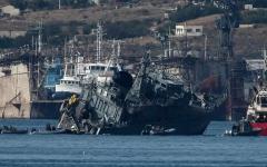 الصورة: اليونان: تصادم كاسحة ألغام وسفينة حاويات قبالة ميناء بيريوس