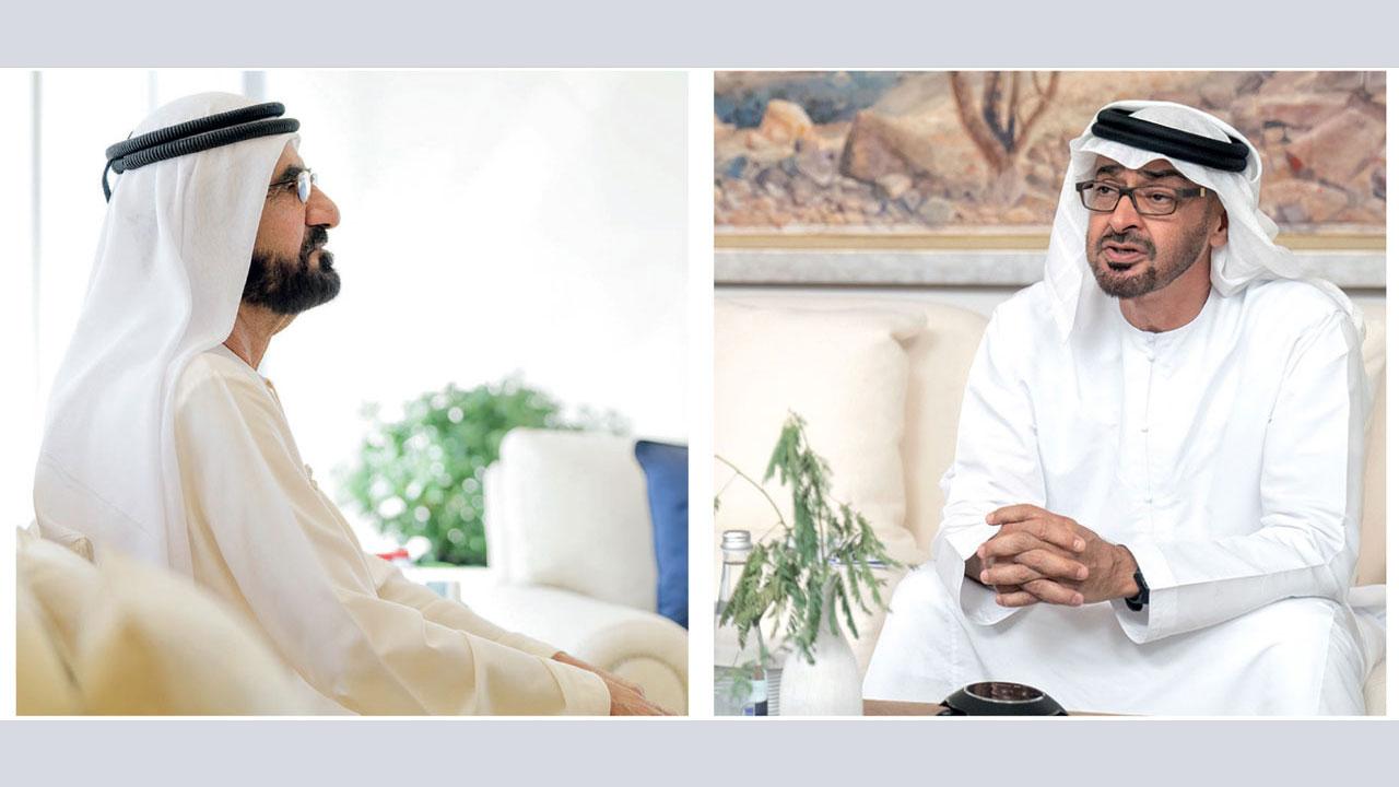 محمد بن راشد ومحمد بن زايد تبادلا الأحاديث الأخوية حول القضايا والشؤون التي تهم المواطنين.  من المصدر