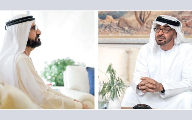 الصورة: محمد بن راشد ومحمد بن زايد والحكام يهنئون بعرس آل نهيان «مرئياً»