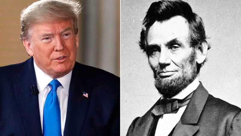 الرئيس أبراهام لينكولن والرئيس دونالد ترامب في صورة إطارية. غيتي