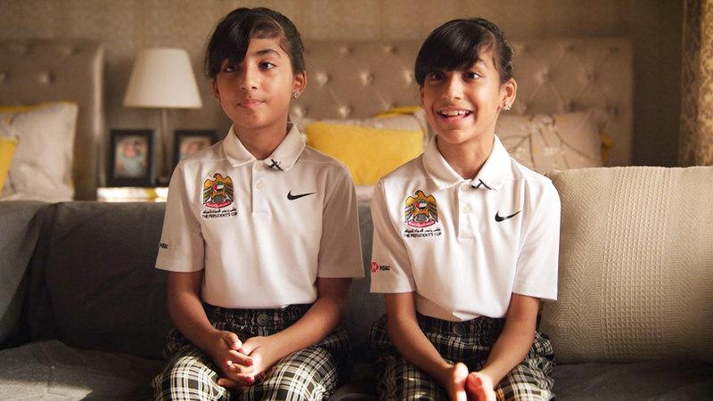 التوأمان انضمتا إلى برنامج تطوير المواهب في اتحاد الإمارات للغولف منذ 4 سنوات. ■ من المصدر