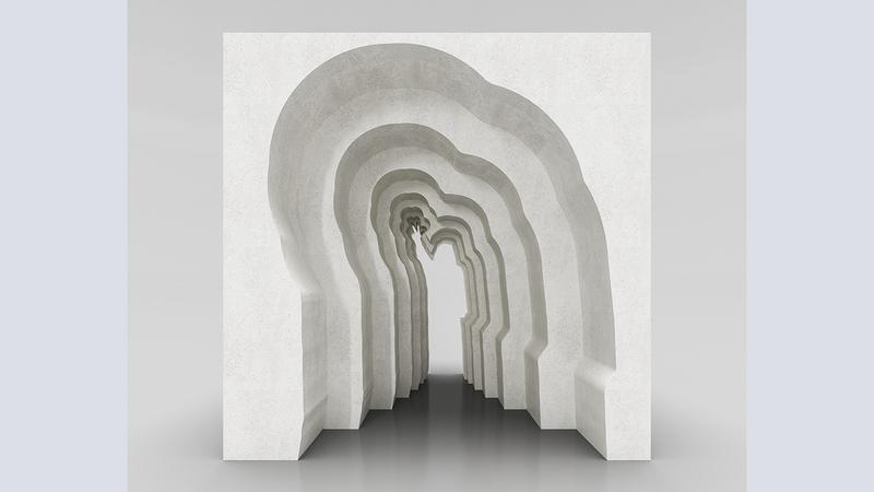 العمل الفني يستخدم الظل ودرجاته ومجموعة من القطع المُرتَّبة وفق طبقات محددة. من المصدر