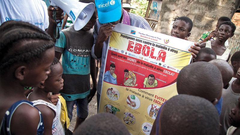 منظمة الأمم المتحدة للطفولة «يونيسيف» خلال حملة توعوية ضمن جهود مكافحة «الفيروس» في الكونغو.  «يونيسيف»