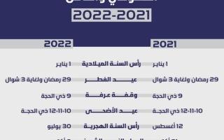 أجندة العطلات الرسمية للعاملين في القطاع الحكومي والخاص لعامي 2021 و 2022 thumbnail