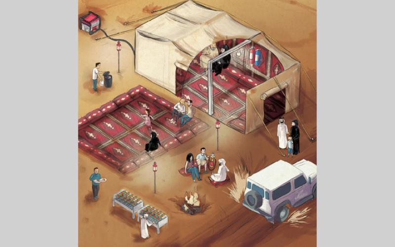الصورة: (انفوغرافيك ).. التخييم في الصحراء يشترط السلامة أولاً