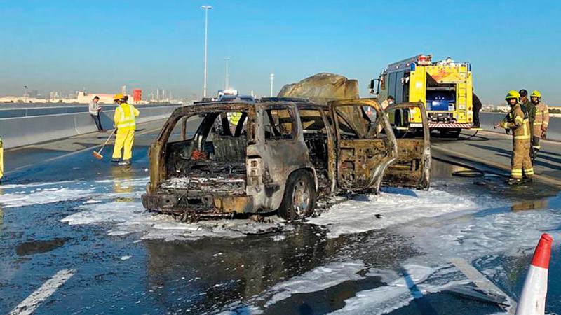 الحريق لم يتسبب في إصابات بشرية.  من المصدر