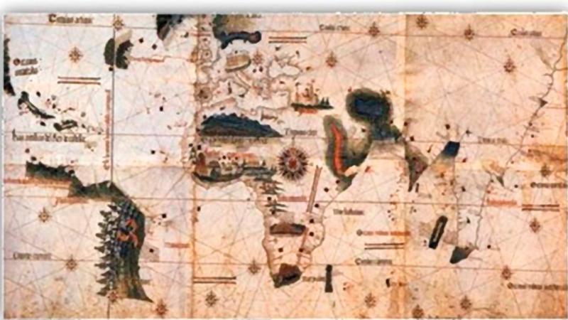 نسخة من النموذج الأولي لخريطة «كانتينو» لسطح الأرض تعود لعام 1502.