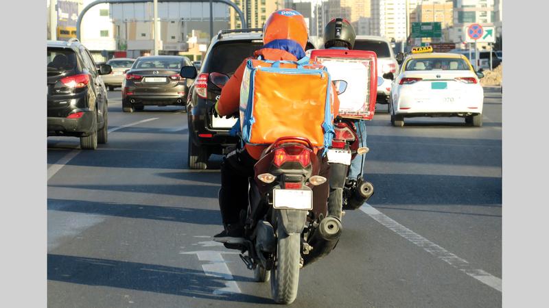 100% نسبة زيادة عدد درّاجات التوصيل التابعة لمنصات إلكترونية. تصوير: أسامة أبوغانم
