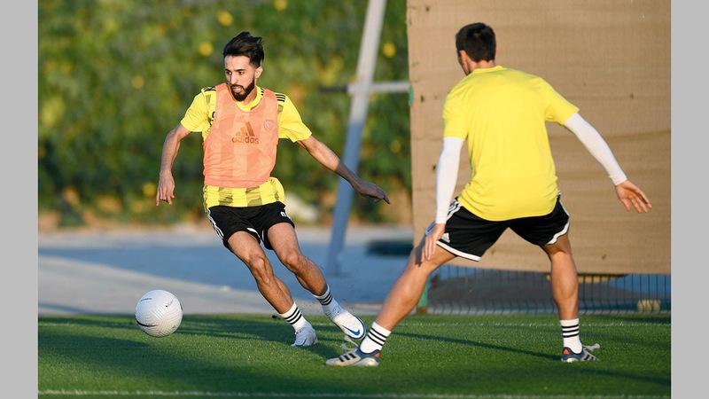من تدريبات المنتخب في نادي الوصل أول من أمس. ■من المصدر