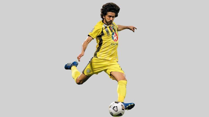 لاعب كلباء يعقوب الحوسني في مباراة بني ياس بالكأس.  من المصدر