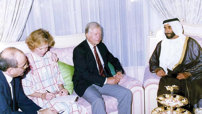 الشراكة تعود إلى اللقاء التاريخي الذي جمع المغفور له الشيخ زايد وكارتر خلال زيارته الأولى للإمارات.  وام