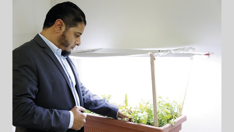 المُعلم المصري أبوالعينين بطل النسخة الخامسة من مسابقة أبطال الزراعة الحضرية.  من المصدر