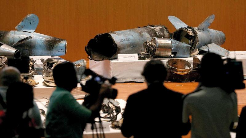 بقايا صواريخ استخدمها الحوثيون المدعومون من إيران للهجوم على منشآت أرامكو النفطية.   أرشيفية - رويترز