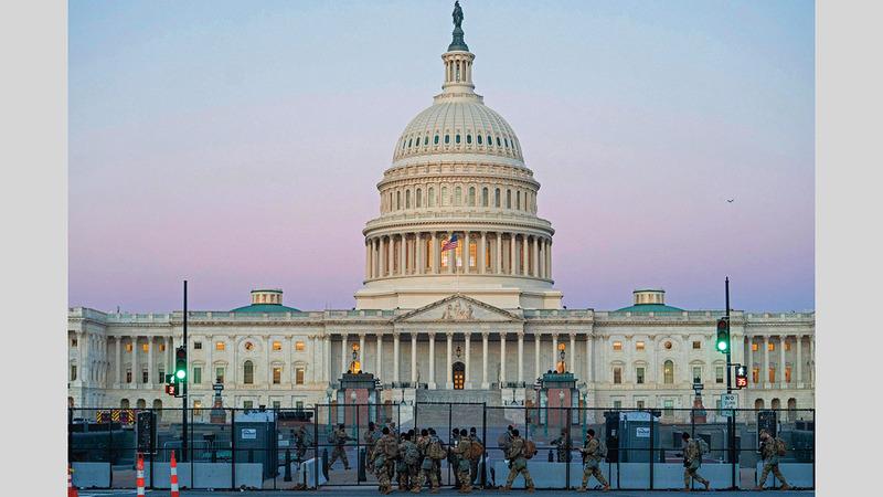 إجراءات أمنية مشددة في مبنى «الكابيتول» حيث مقر محاكمة ترامب.  أ.ف.ب
