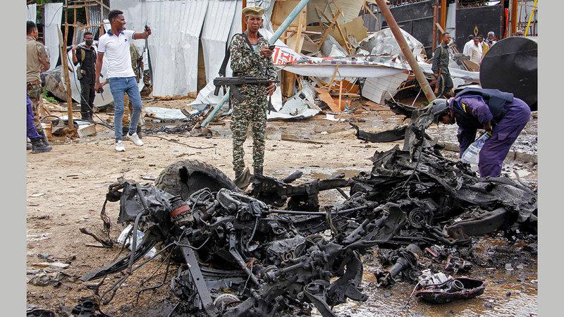 العمليات التفجيرية في العاصمة مقديشو استهدفت الجيش الصومالي.   أ.ب