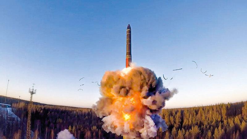 اختبار صاروخ روسي عابر للقارات.   أ.ب